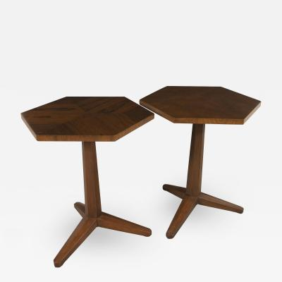 Frank Lloyd Wright Pair of Pedestal Tables by Frank Lloyd Wright for Heritage