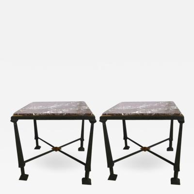 Frank Lloyd Wright Pair of Side Tables in Bronze Gilt Bronze and Marble