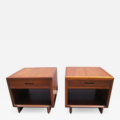 Frank Lloyd Wright Pair of Taliesin Nightstands by Frank Lloyd Wright for Heritage Henredon
