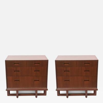 Frank Lloyd Wright Rare Pair of Frank Lloyd Wright Mahogany Chests Taliesin Collection