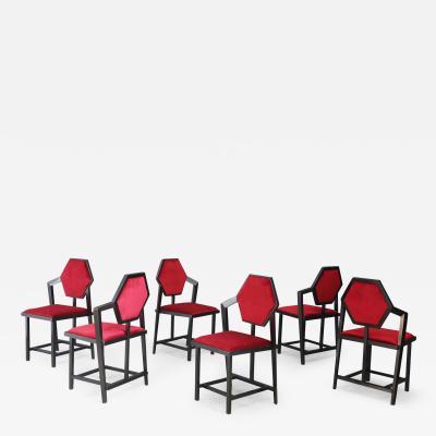 Frank Lloyd Wright Set of six Chair Model Midway 1 design to Frank Lloyd Wright 1980
