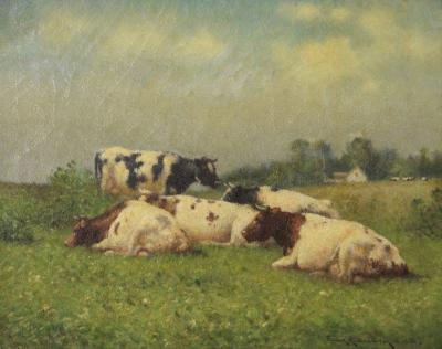 Frank Russell Green Pastoral Landscape Antique Painting of Cows by Frank Russell Green