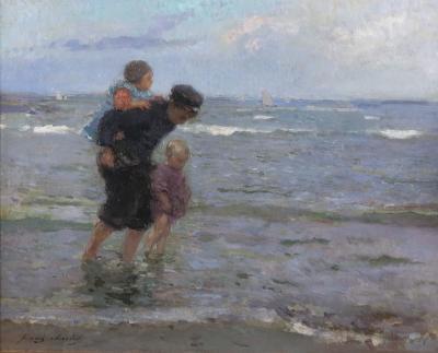 Frans Charlet Children Walking Along the Beach
