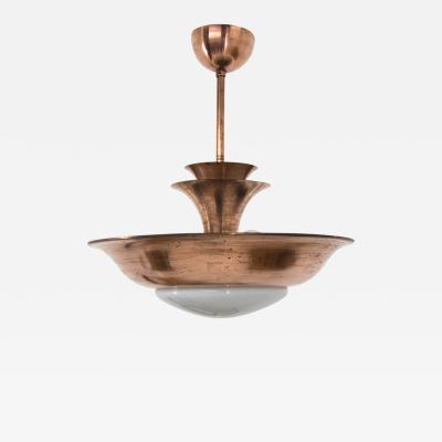 Franta Anyz Very Rare Copper Chandelier by IAS 1930s