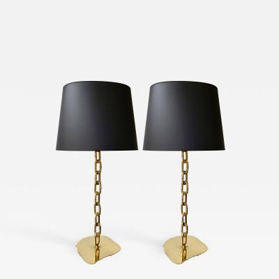 Franz West Pair of Brass Chain Lamps Italy 1990s
