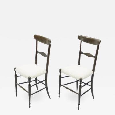 Fratelli Levaggi Rare pair of Campanino Chiavari walnut chairs by Fratelli Levaggi 1950