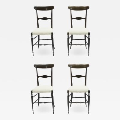 Fratelli Levaggi Rare set of four Campanino Chiavari walnut chairs by Fratelli Levaggi 1950