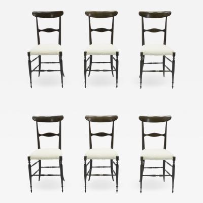 Fratelli Levaggi Rare set of six Campanino Chiavari walnut chairs by Fratelli Levaggi 1950