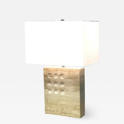 Fratelli Manelli Travetine Marble Table Lamp 1970s