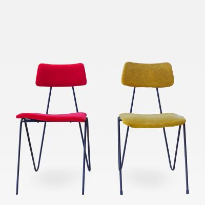 Fratelli Saporiti Fratelli Saporiti Modernist Yellow and Red Chairs Produced in 1950s