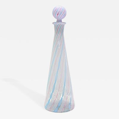 Fratelli Toso Fratelli Toso Zanfirico Latticino Murano Glass Decanter with Stopper