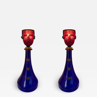 Fratelli Toso Pair of Character Lamps by Fratelli Toso Murano Glass Italy 1960s