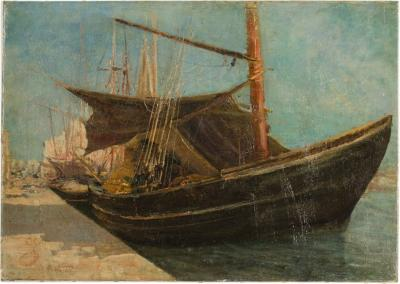 Frederic Montenard Frederic Montenard FRENCH 1849 1926 Fishing Boats in a Harbor painting