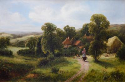 Frederick Carlton A Surrey Homestead 19th Century English Landscape Oil painting
