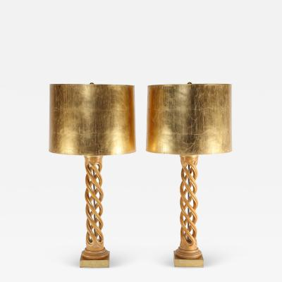 Frederick Cooper Lamp Co Pair of Monumental Table Lamps in Bleached Mahogany with Gilt Shades 1950s