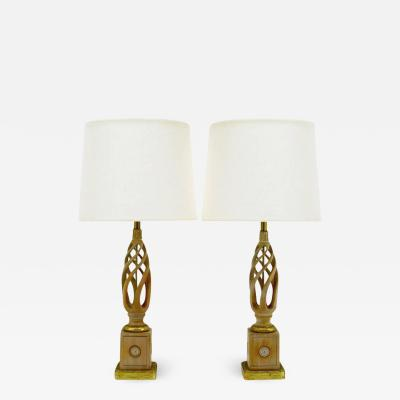 Frederick Cooper Pair of Frederick Cooper Carved and Limed Barley Twist Table Lamps