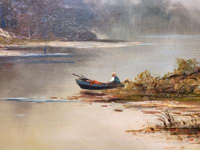 Frederick Ferdinand Schafer Autumn on Lake George an Oil Painting signed by Frederick Ferdinand Schafer