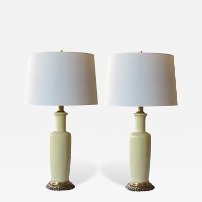Frederick G Cooper A Good Quality Pair of Chartreuse Glazed Ceramic Lamps by Frederick Cooper