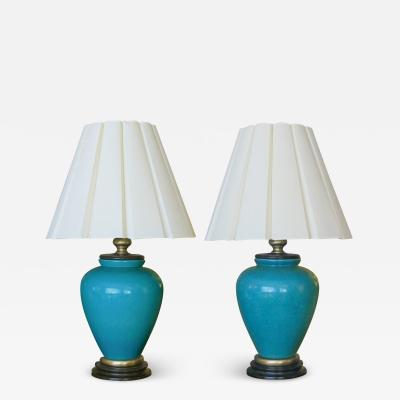 Frederick G Cooper A pair of American turquoise crackle glaze ceramic lamps by Frederick Cooper