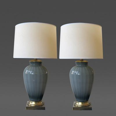 Frederick G Cooper A shapely pair of American 1960s gray cased glass lamps Frederick Cooper
