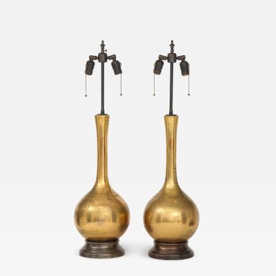 Frederick G Cooper Frederick Cooper Burnished Gold Crackle Glazed Lamps