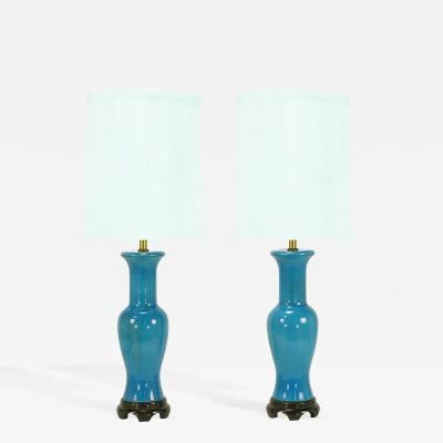 Frederick G Cooper Pair of Frederick Cooper Cerulean Blue Crackle Glaze Table Lamps