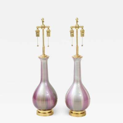 Frederick G Cooper Pair of Iridescent Lamps by Frederick Cooper