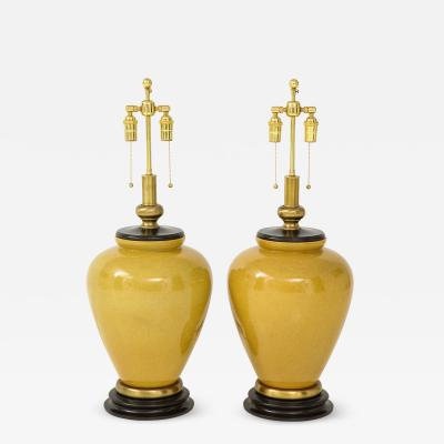 Frederick G Cooper Pair of Large Ceramic Mustard Glazed Lamps by Frederick Cooper