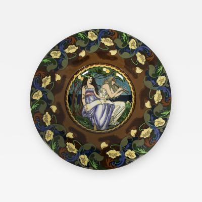 Frederick Hurten Rhead British Art Nouveau Period Wall Plate by Frederick Rhead for Foley circa 1900