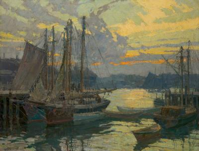 Frederick John Mulhaupt Harbor View at Sunset