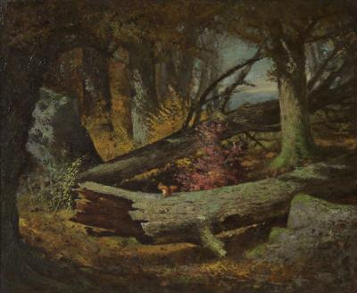 Frederick Stone Batcheller Painting of Squirrel in Wooded Hollow by Frederick Batcheller