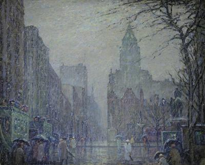 Frederick Usher De Voll Showery Day Fifth Avenue at the Plaza