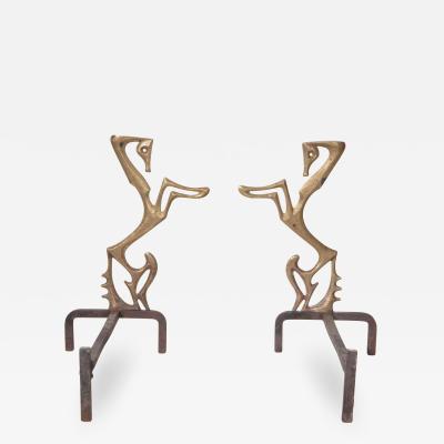 Frederick Weinberg Beautiful Frederick Weinberg Bronze Andirons