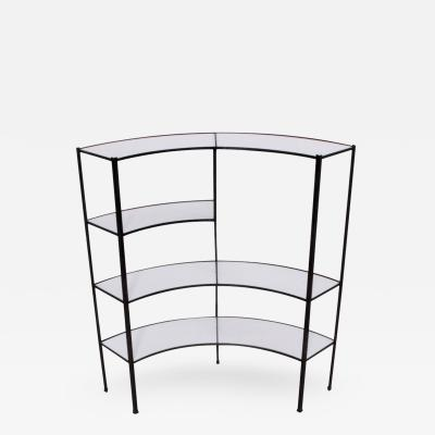 Frederick Weinberg Black and White Vitrolite Glass Wrought Iron Shelf by Frederick Weinberg