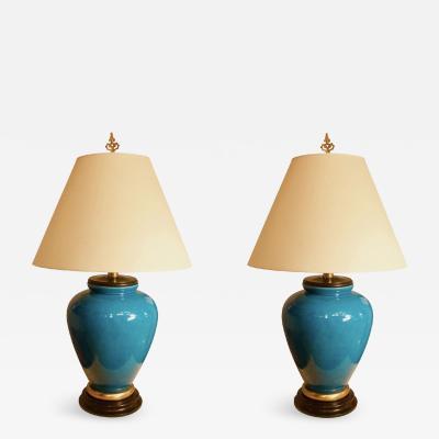 Fredrick Cooper Pair of Large Blue Ceramic Lamps