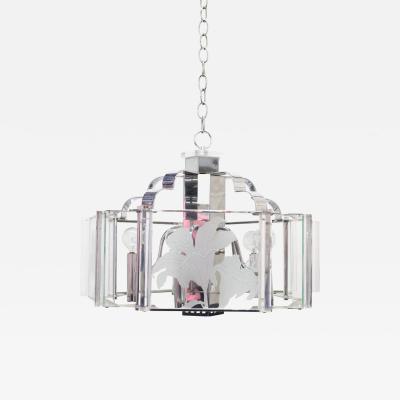 Fredrick Ramond Deco Style Chrome and Glass Chandelier by Fredrick Raymond