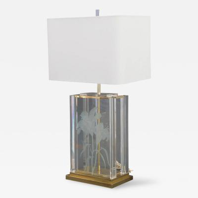 Fredrick Ramond Mid Century Modern Etched Frosted Glass Lucite Brass Table Lamp