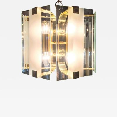 Fredrick Ramond Mid Century Modern Frosted Glass and Brass Chandelier