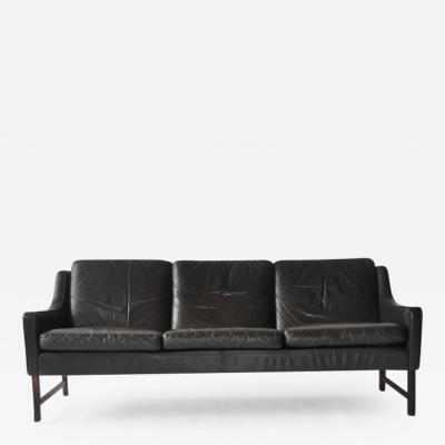 Fredrik A Kayser Fredrik Kayser Leather and Rosewood Sofa