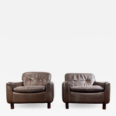 Fredrik Kayser Fredrik Kayser Leather Lounge Chairs a Pair