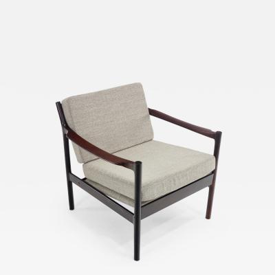 Fredrik Kayser Scandinavian Modern Rosewood Armchair Attributed to Designer Fredrik Kayser