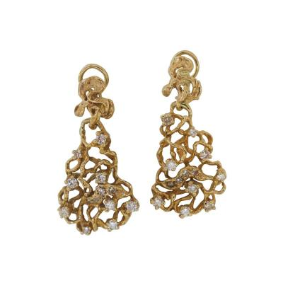 Free Form Gold and Diamond Dangle Earrings 1970s