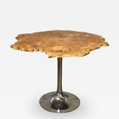 Free Form Modern Burl Big Leaf Maple Wood Aluminum Tulip Table Dining Table