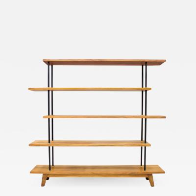 Free Standing Shelf or tag re in Teak Wood Brass and Metal 1950s