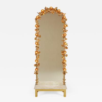 Free standing Gracie flower light mirror