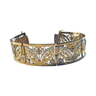 French 18K Art Nouveau Three Colour Gold Bracelet C 1900