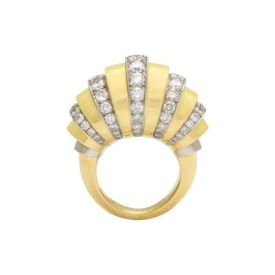 French 18K Gold Diamond Ring Circa 1940s