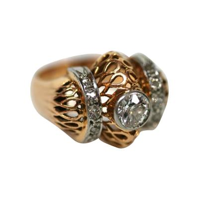 French 18K Gold and Diamond Retro Ring