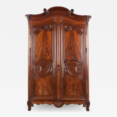 French 18th Century Mahogany Armoire from the Port of Normandy