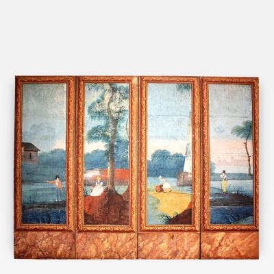 French 18th Century Painted Four Panel Screen